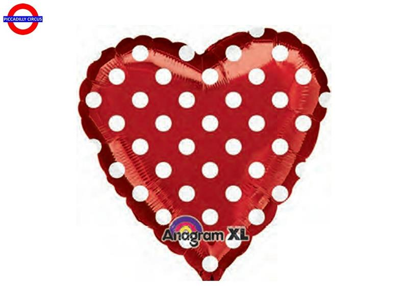 MYLAR CUORE POIS ROSSO 18