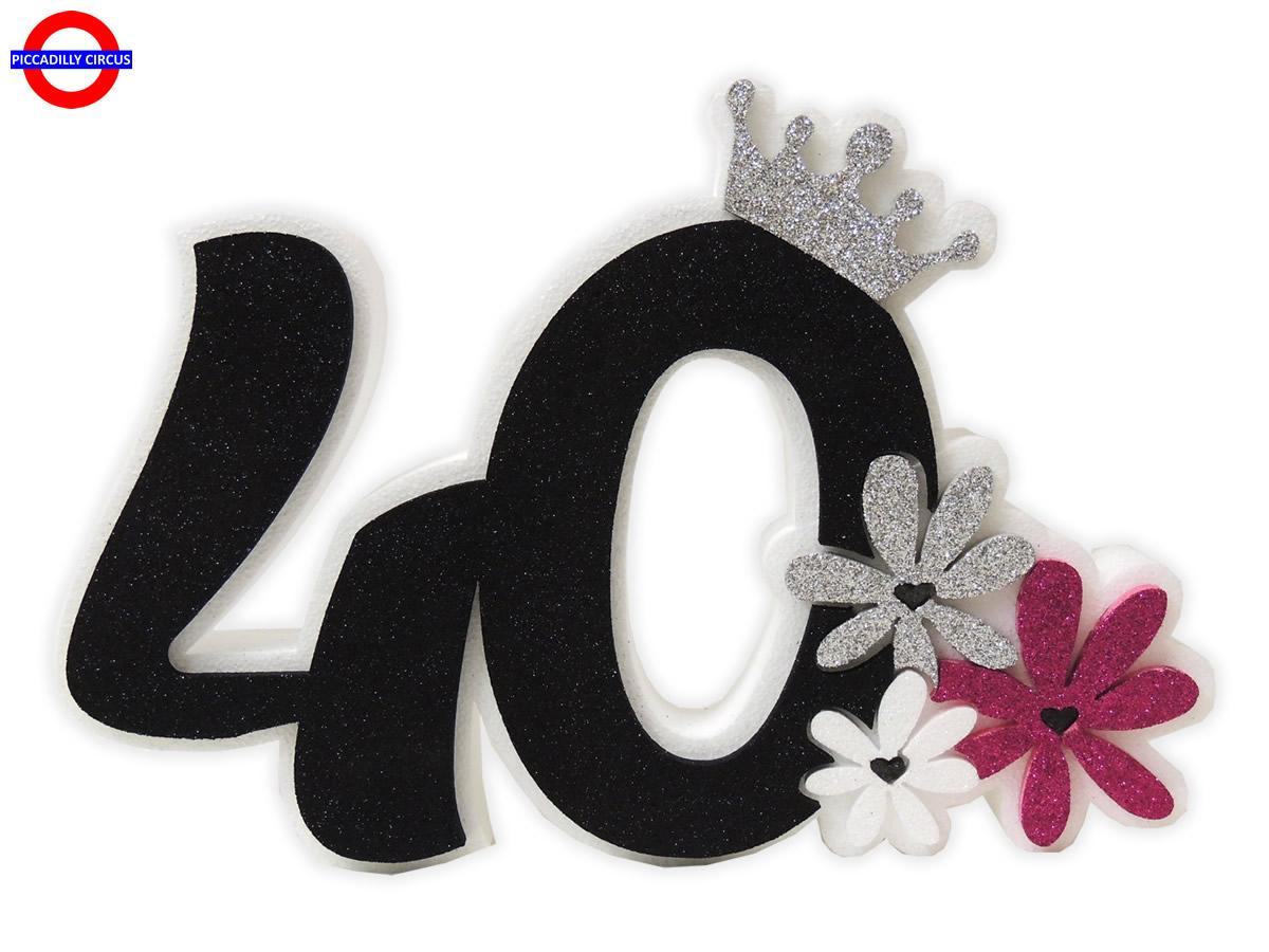 Fiori 40 Anni.Poly 40 Anni Nero Glitter Con Fiori Cm 38x27 Poly Sagomato