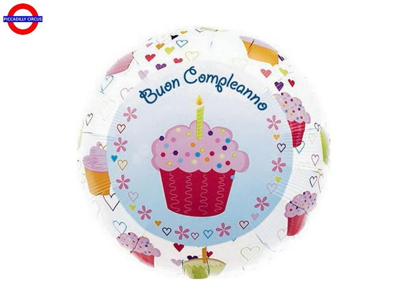 MYLAR BUON COMPLEANNO 18 CUP CAKE