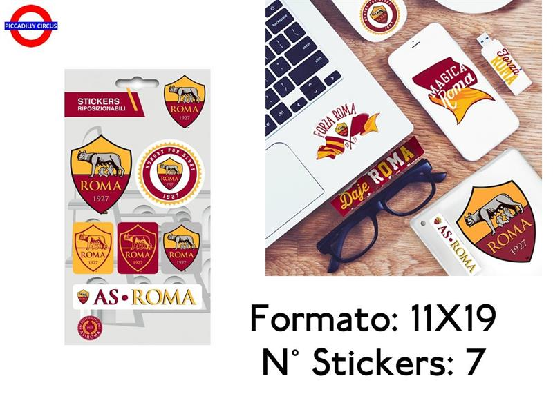 AS ROMA STICKER 11X19 ATTACCA-STACCA 7 PZ