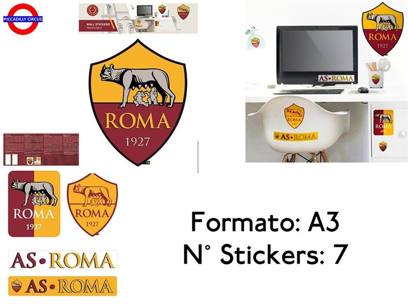 AS ROMA STICKER 30X40 ATTACCA-STACCA 7 PZ